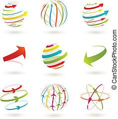 集合, illustration., 摘要, colordul, 矢量, 箭, icon.