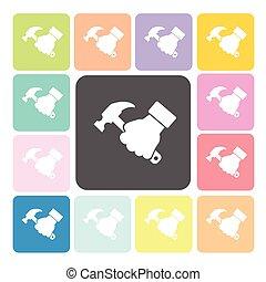集合, illustration., 顏色, 手, 矢量, 藏品, 錘子像