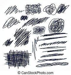 集合, scribbles, 手, 鋼筆, 墨水, 畫