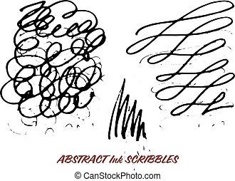集合, scribbles, swirly, 手, 鋼筆, 墨水, 畫