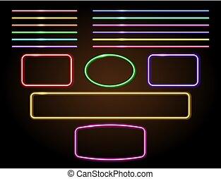 集合, signboard, 線, 氖, 裝飾, 框架, 發光