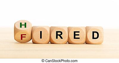 雇われた, テキスト, スペース, 発射される, concept., ブロック, テーブル。, コピー, 雇用, ビジネス, 木製である, ∥あるいは∥