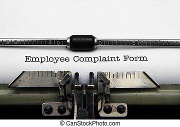 雇員, 抱怨, 形式