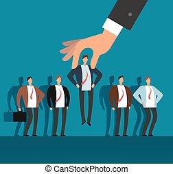 雇用者, 手, 選択, 人, から, 選ばれる, グループ, の, 人々。, 求人, ベクトル, ビジネス 概念