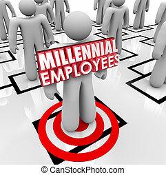 雇用, ミレニアムである, 従業員, 構成, チャート, スタッフ, 若い, 労働力