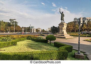 雌馬, stefan, 都市, cel, 有名な場所, statue., chisinau, moldova.