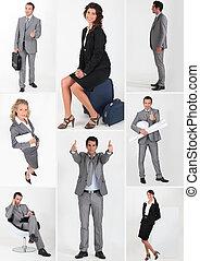 雑多, スナップショット, の, 男性の、そして女性の, ビジネス 人