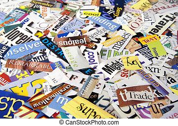 雑誌, 単語, 切り抜き, 背景