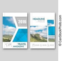 雑誌, 旅行, 年報, カバー, パンフレット, デザイン, テンプレート, レポート