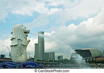 雕像, 在中, merlion, 新加坡