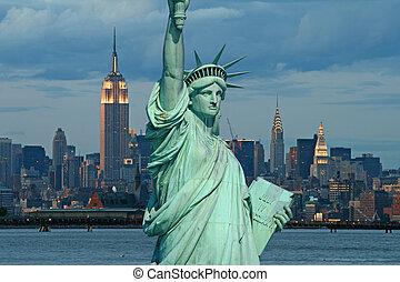 雕像, 城市, 約克, 自由, 新