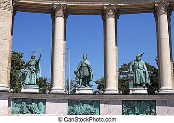 雕像, 布達佩斯, 廣場,  heroes', 匈牙利