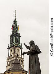 雕像, ......的, 教皇, 約翰, 保羅, ii, -, czestochowa, poland.