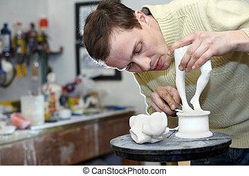 雕刻家, 工作, 在, the, 工作室, 上, a, 碎片, ......的, 膏藥, sculpture.