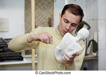 雕刻家, 文件, 在, the, 工作室, a, 身體, ......的, the, 膏藥, sculpture.