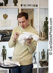 雕刻家, 文件, 注意, 在, the, 工作室, a, 身體, ......的, the, 膏藥, sculpture.