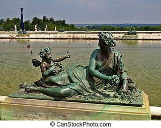 雕刻, 同时,, 池塘, 在中, 皇家的住处, 在, 凡尔赛, 近, 巴黎, 在中, 法国