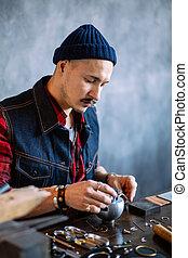 雕刻, 有才能, 年輕, 附件, 工匠, 使用, block., 珠寶