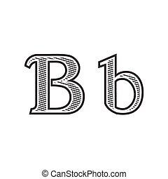 雕刻, 紋身, b, 信, 發暗, 洗禮盆