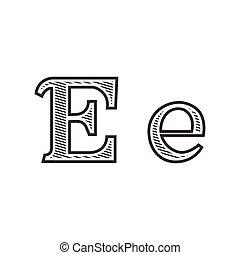雕刻, 紋身, e, 信, 發暗, 洗禮盆