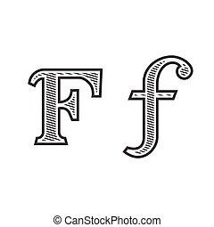 雕刻, 紋身, f, 信, 發暗, 洗禮盆