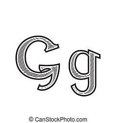 雕刻, 紋身, g, 信, 發暗, 洗禮盆