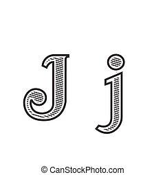 雕刻, 紋身, j, 信, 發暗, 洗禮盆