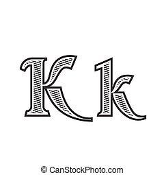 雕刻, 紋身, k, 信, 發暗, 洗禮盆