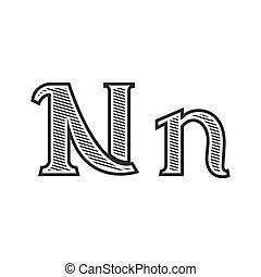 雕刻, 紋身, n, 信, 發暗, 洗禮盆