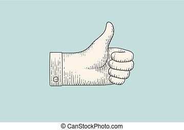 雕刻, 風格, 向上, 手, 拇指, 簽署, 圖畫