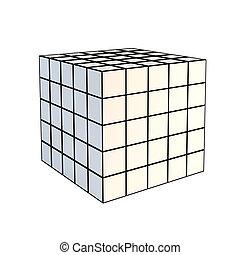 雕琢平面, 白色, 3d, 立方