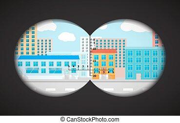 雙筒望遠鏡, 套間, 建筑物, 看法, 城市