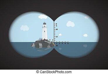 雙筒望遠鏡, 燈塔, 看法, 海, 岩石