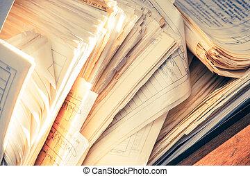 雜亂, 文件, 紙, 骯髒