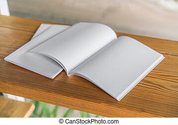 雜志, 向上, 木頭, 背景, 空白, 目錄, 嘲弄
