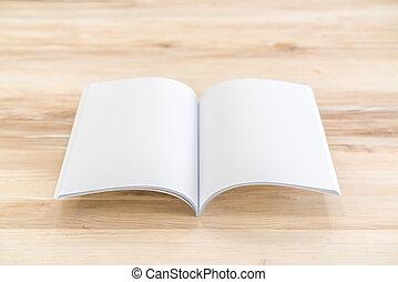 雜志, 書, 向上, 木頭, 背景, 空白, 目錄, 嘲弄
