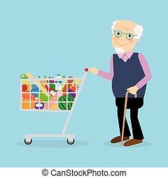 雜貨, 購物車, 祖父