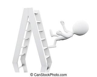 離れて, 人々, はしご, 白, 落ちる, 3d