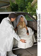 離れて, 得ること, 自動車, 若い, 花嫁, 結婚式 服