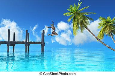離れて, 海, 突堤, 跳躍の女性, 3d