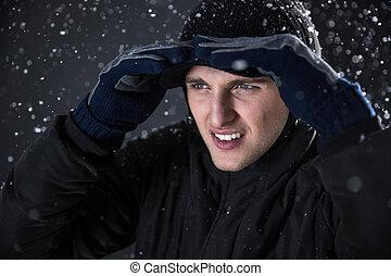 離れて, 雪, 見る, 背景, ハンサム, 人