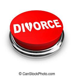 離婚, ボタン, -, 赤