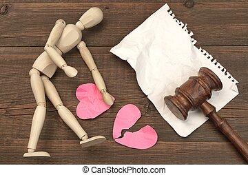 離婚, 概念, 中に, ∥, court., 小槌, 法律書, 裁判官, 小槌