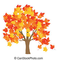 離開, 樹, 秋天, 矢量, 背景, 楓樹