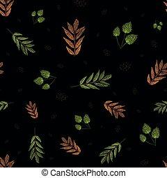 離開, seamless, 秋天, 點, 木刻, 秋天, 風格, scrapbooking, 綠色, 圖案, 產品, 背景。, 偉大, 橙, 花園, 摘要, 黑色, 健康, 矢量, 震動, 織品, giftwrap, design.