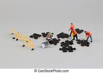 難題, 小雕像, 工人, 片斷