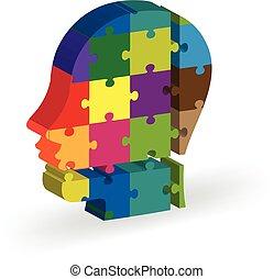難題, 腦子, 人們, 頭, 圖象, 標識語