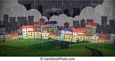 雨が降る, 上に, 大きい都市