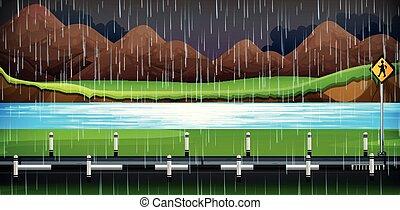雨が降る, 側, 道, 夜