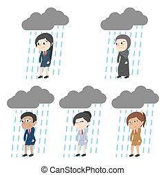 雨が降る, 別, セット, 疲れた, 女性実業家, レース, 雲